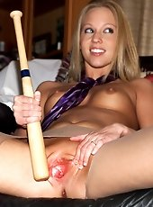 Sexy Brea Bennett Plays with a Baseball Bat - 11/2/2012